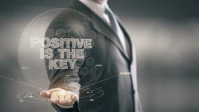 Positive Is The Key Businessman Holding in Hand New technologies stock footage