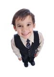 Positive kid in suit stock image