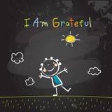 Positive kids affirmations, I am grateful Stock Photos
