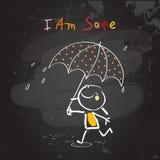 Positive kids affirmations, I am safe. Positive affirmations for kids, motivational, inspirational concept vector illustration. I am safe text, typography. Chalk Stock Image