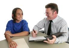 Positive Kursteilnehmer-Lehrer-Konferenz Lizenzfreies Stockfoto