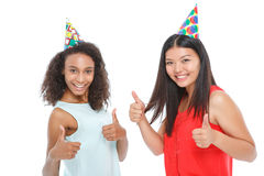 Positive ladies having birthday party Royalty Free Stock Photography
