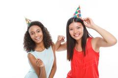 Positive ladies having birthday party Royalty Free Stock Photo