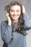 Positive Laughing Caucasian Brunette Woman Royalty Free Stock Photos
