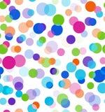 Positive Lichter Nahtloser bokeh Vektorhintergrund Buntes transparentes Kreismuster auf schwarzem Hintergrund Stockfotos