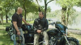 Positive male bikers chatting near motorbike stock video
