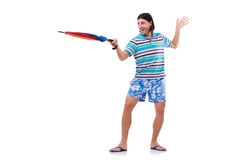 Positive man with colorful umbrella isolated on Stock Images