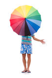 Positive man with colorful umbrella isolated on Stock Image