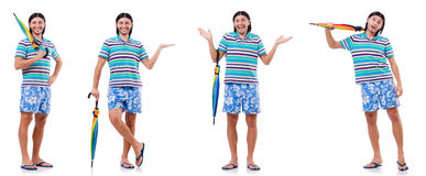 The positive man with colorful umbrella isolated on white Royalty Free Stock Photo