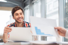Positive man discussing project Stock Photography