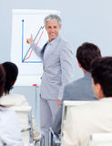 Positive mature businessman doing a presentation Royalty Free Stock Images