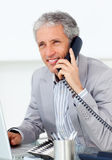Positive mature businessman talking on phone Royalty Free Stock Image