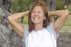 Positive mature woman active retirement Stock Images