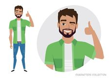 Positive men smiling and recommended. stock illustration
