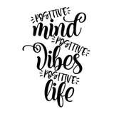 Positive mind, positive vibes, positive life stock illustration