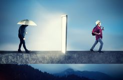 Positive mindset, The concept of mindset perspective. Sad and depressive boy holding an umbrella going through a portal , coming out happy and positive. The stock photo