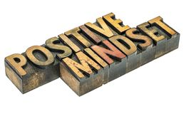 Positive mindset word abstract in wood type stock photography