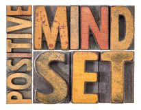 Positive mindset word abstract in wood type. Positive mindset - isolated word abstract in vintage letterpress wood type royalty free stock images