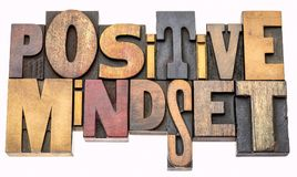 Positive mindset word abstract in wood type Stock Photo