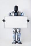 Positive modern robot holding white signboard Stock Image