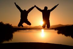 Positive movements of energetic people. Camp morning,a day full of energetic,restful and morale stock images