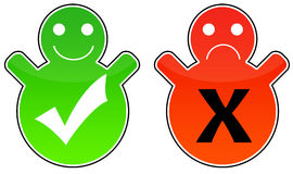 Positive and negative. Icons, both positive/happy and negative/unhappy Royalty Free Stock Photos