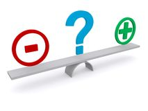 Positive and negative balance beam. 3D illustration of a balance beam with positive on one end and negative on the other, and a question mark in the middle Royalty Free Stock Image