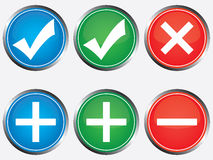 Positive and negative buttons Stock Image