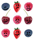 Positive and negative emotion fruit set Royalty Free Stock Image
