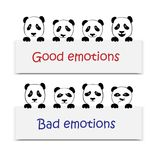 Positive and negative emotions. Toy Pandas Stock Photography
