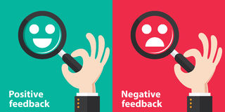 Positive and negative feedback. Concept background. Vector illustration. Minimal and flat design Royalty Free Stock Photo