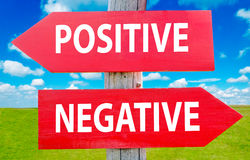 Positive or negative. Positive and negeative choice showing strategy change or dilemmas Royalty Free Stock Photography