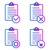 Positive, negative, online order, maintenance lists stock illustration