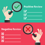 Positive and Negative review. Business hand with right and wrong in magnifying glass background. Vector illustration of positive and negative review concept Stock Images