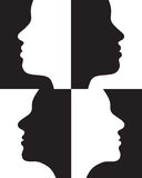 Positive and negative silhouettes Stock Image