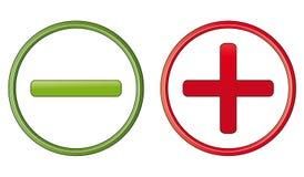 Positive and negative symbols Stock Photo