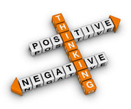 Positive and negative thinking. (orange-white crossword puzzles series Royalty Free Stock Photos