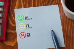Positive, Neutral and Negative Faces. Customer satisfaction and service quality survey. Feedback concept Royalty Free Stock Image