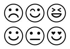 Positive, neutrale und negative, unterschiedliche Stimmung der smiley Emoticons-Ikone Vektor stock abbildung
