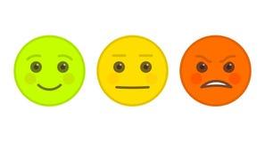 Positive, neutrale und verärgerte Emoticons Vektor Abbildung
