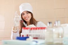 Positive nurse  in laboratory Stock Photography