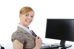 Positive office worker. Royalty Free Stock Image