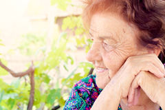 Positive old female portrait Stock Photo