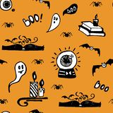 Positive orange Halloween seamless vector background with ghosts, spiders, bats, magic books and candles. royalty free illustration