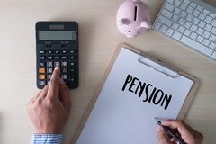 Positive  pension Happiness money saving for Retirement financia. L Royalty Free Stock Photo