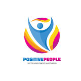 Positive people - creative logo template sign for sport club, health center, music festival etc. Abstract human character figure. Fitness symbol Royalty Free Stock Photos