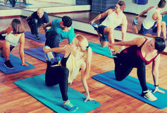 Positive people practicing yoga Royalty Free Stock Images