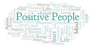 Positive People word cloud, made with text only. Positive People word cloud, made with text only stock image