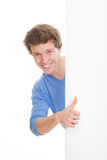Positive Person mit den Daumen oben Stockfoto