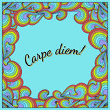 Positive postcard with Carpe diem and rainbow. Template for card, postcard, poster etc Stock Photography